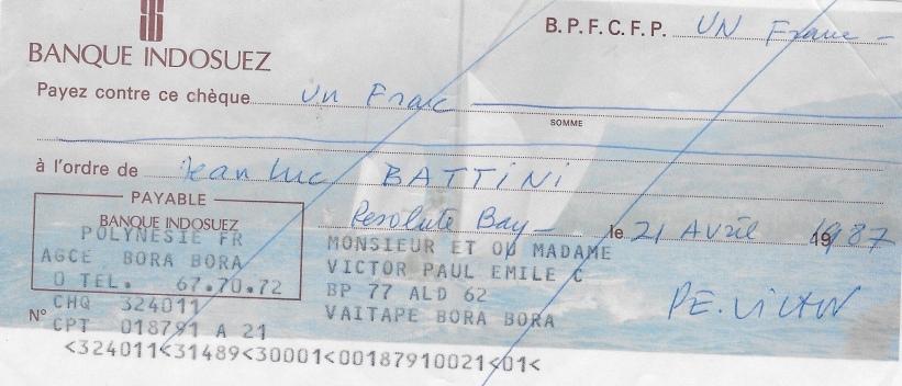 Chèque symbolique de P E V